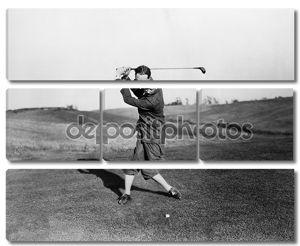 человек, играющий в гольф.
