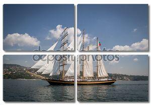 старый корабль с белыми продажами, парусник в море