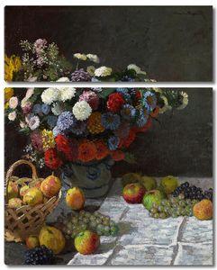 Клод Моне. Натюрморт с цветами и фруктами
