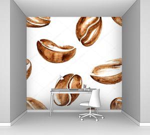 Акварель кофе в зернах
