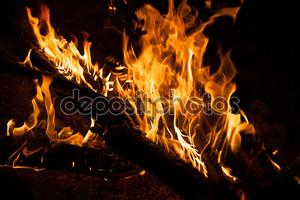 Горящий костер ночь - огонь