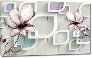 Абстрактные фигуры  и цветы на берестяном фоне