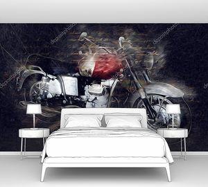 Моторный цикл люстрации цвета изолированные искусства винтажного ретро