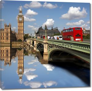 Биг Бен с двойной Деккер, Лондон, Великобритания