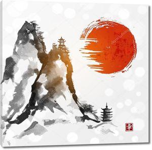 Горы и красное солнце