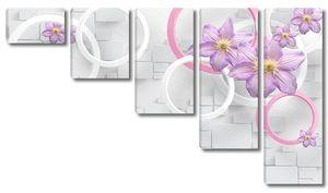 Белые и розовые кольца, большие сиреневые цветы