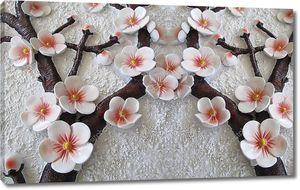 Имитация штукатурки, крупные цветы вишни на ветвях