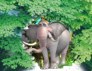 Слон из кирпичной стены