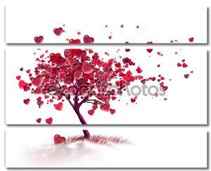 Дерево с летающими сердечками