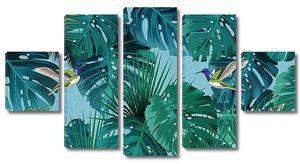 Колибри в пальмовых листьях