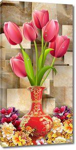Тюльпаны в вазе у стены из кубов