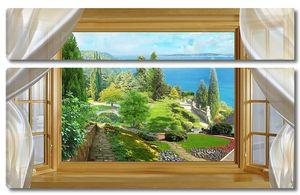 Вид из окна на зеленый парк