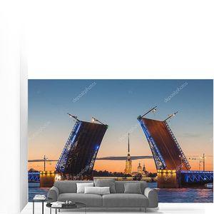 The opening of the drawbridge, white nights in Saint-Petersburg