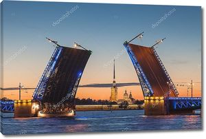 The opening of the drawbridge, white nights in Saint-Petersburg