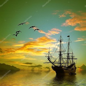 Корабль на море