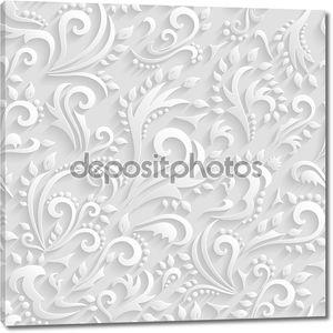Вектор цветочный викторианский бесшовный фон. оригами 3-е приглашение, свадьба, бумажные карты декоративный образец