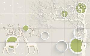 Плитка с оленями и кругами