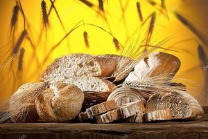 Нарезанный хлеб с колосьями