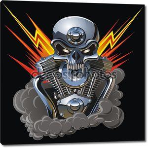Вектор металл череп с двигателем