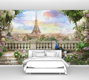 Вид с балкона с павлином на Эйфелеву башню