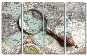 Увеличительное стекло и карта