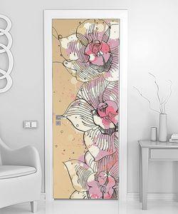 Вертикальный рисованный цветочный орнамент