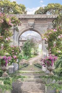Прекрасный сад со старинной архитектурой