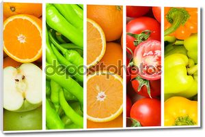 Коллаж из многих фруктов и овощей