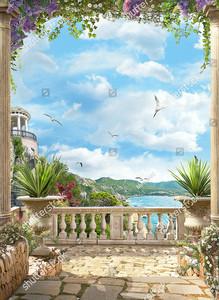 Вид с террасы на море и ротонду
