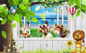 Обезьянки и львенок у окна