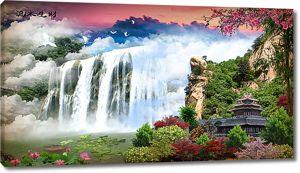 Пагода у огромного водопада