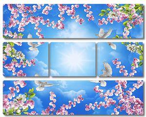 Небо и голуби сквозь веточки сакуры