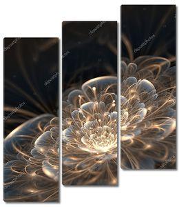Темно синий фрактальный цветок