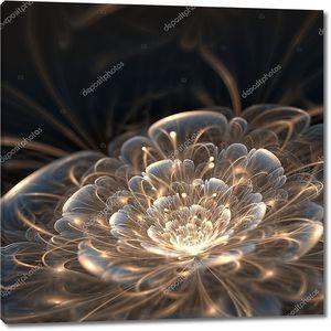 темно синий Фрактальный цветок с Золотые лучи