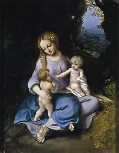 Корреджо. Мадонна с младенцем и святой Иоанн