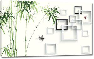 Побеги бамбука с квадратами