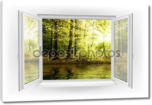 Открытое окно с видом на лес