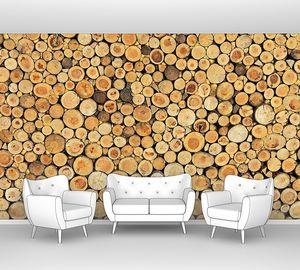Деревянная стена из спилов