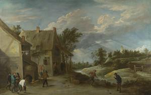 Тенрис Давид (Младший). Крестьяне, играющие в шары у деревенской таверны