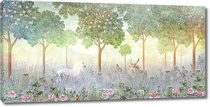 Белая лошадь и олень