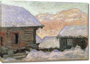 Клод Моне. Норвегия, дома под снегом и гора Кольсаас