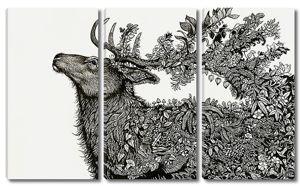 Фигура оленя из растений