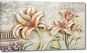 Лилии. Имитация глиняного узора