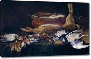 Александр Адриенссен.Натюрморт с зайцем, битой птицей и рыбой