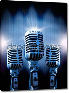 Три ретро микрофона