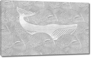 Большой кит на морских волнах, тиснение