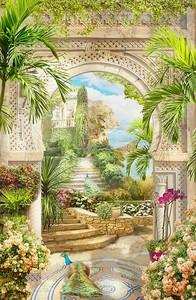 Проход через арку на цветочной улице
