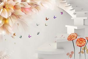 Цветы на фоне лесенки