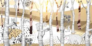 Woodland-бежевый лес с животными