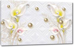 Бело-желтые и бело-розовые цветы калл, жемчуг